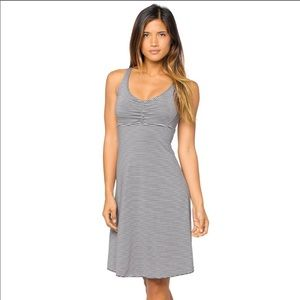 EUC Prana Grey White Striped Strappy Back Dress